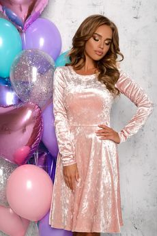 Розовое бархатное платье Open-Style