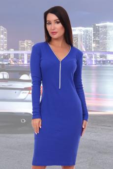 Платье василькового цвета с молнией Натали