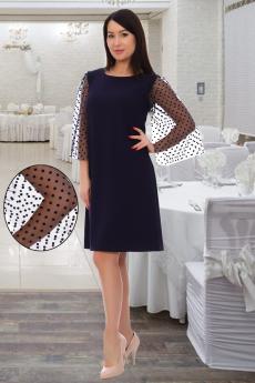 Темно-синее платье с фатиновыми рукавами Натали